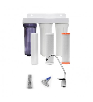 """3-stage filtration system Oxygon Economy under the sink 10 """"x2,5"""" Oxygon PP-Series 5mm & X-Clear 0,5mm & GAC 5mm WPC-PN000002-31"""