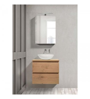 Bathroom Furniture with oak veneer upholstery Single 060 Base 60x60 cm mirror 50x70cm